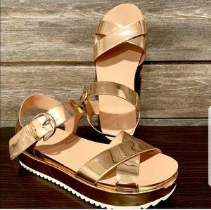 Zara Trafaluc rose gold sandals